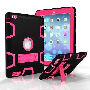 iPad 2 / iPad 3 / iPad 4 Retina Håndværker Case - Armor Defender Cover m. Fod Sort / Pink