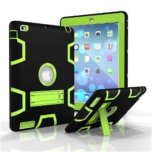 iPad 2 / iPad 3 / iPad 4 Retina Håndværker Case - Armor Defender Cover m. Fod Sort / Grøn