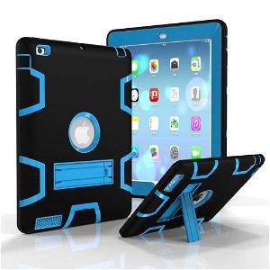 iPad 2 / iPad 3 / iPad 4 Retina Håndværker Case - Armor Defender Cover m. Fod Sort / Blå