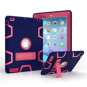 iPad 2 / iPad 3 / iPad 4 Retina Håndværker Case - Armor Defender Cover m. Fod Mørkeblå / Pink
