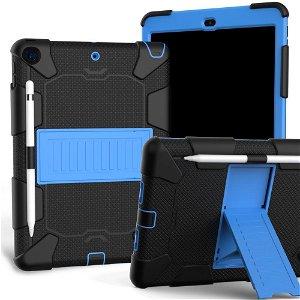 """iPad 10.2"""" (2021 / 2020 / 2019) Håndværker Case m. Stand og Stylus Holder - Sort / Blå"""