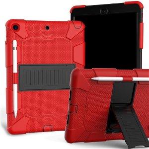 """iPad 10.2"""" (2021 / 2020 / 2019) Håndværker Case m. Stand og Stylus Holder - Rød / Sort"""