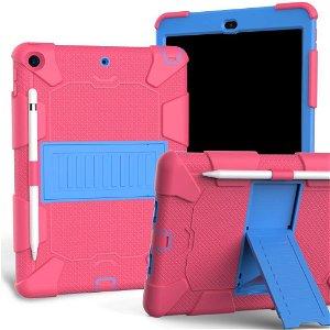 """iPad 10.2"""" (2021 / 2020 / 2019) Håndværker Case m. Stand og Stylus Holder - Pink / Blå"""