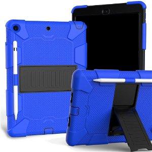 """iPad 10.2"""" (2021 / 2020 / 2019) Håndværker Case m. Stand og Stylus Holder - Blå / Sort"""
