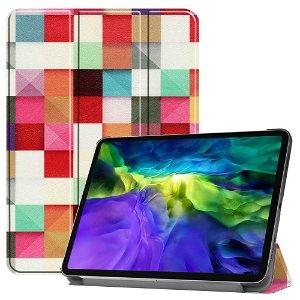 """iPad Pro 11"""" (2020 / 2018) Tri-Fold Læder Cover - Farverige Firkanter"""