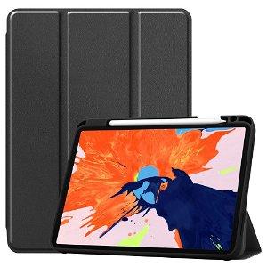 "iPad Pro 12.9"" (2020) / (2018) Tri-Fold Læder Cover m. Apple Pencil Holder Sort"