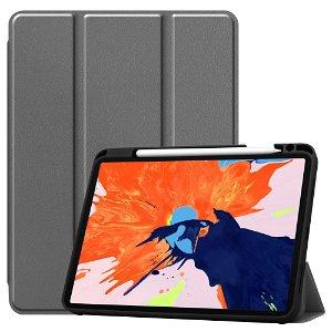 """iPad Pro 12.9"""" (2020) / (2018) Tri-Fold Læder Cover m. Apple Pencil Holder Grå"""