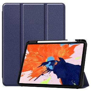 "iPad Pro 12.9"" (2020) / (2018) Tri-Fold Læder Cover m. Apple Pencil Holder Blå"