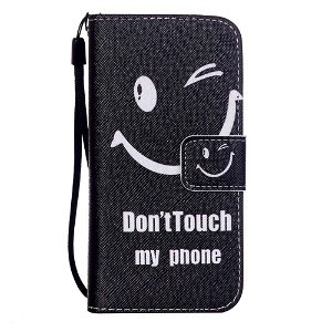 iPhone SE / 5 / 5s Læder Cover m. Kortholder - Don't Touch My Phone