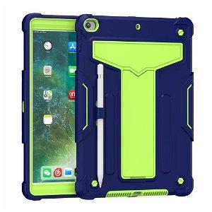 """iPad 10.2"""" (2021 / 2020 / 2019) Håndværker Case m. Kickstand Mørkeblå / Grøn"""