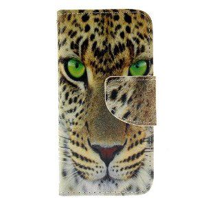 iPhone SE / 5 / 5s Læder Cover m. Kortholder - Tiger