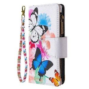 iPhone 6 / 6s Cover m. Stor Pung i Læder - Blomster og sommerfugle