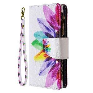 iPhone 6 / 6s Cover m. Stor Pung i Læder - Farvet blomst