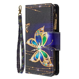 iPhone 6 / 6s Cover m. Stor Pung i Læder - Diamant sommerfugl