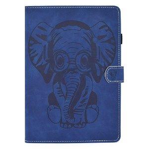 iPad Air (2020) Cover m. Ståfunktion, Kortholder & Apple Pencil Holder - Elefant - Blå
