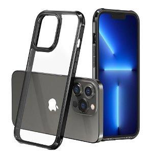 iPhone 13 Pro Drop-Proof Fleksibelt Plastik Håndværker Bagside Cover - Gennemsigtig / Sort