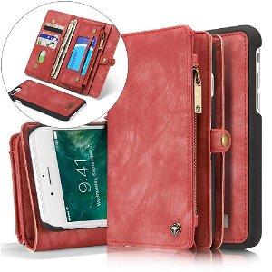 iPhone 8 Plus / 7 Plus CASEME 2-in-1 Vintage Leather Wallet Etui m. Pung Rød
