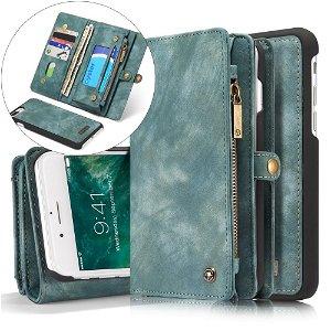 iPhone 8 Plus / 7 Plus CASEME 2-in-1 Vintage Leather Wallet Etui m. Pung Blågrøn