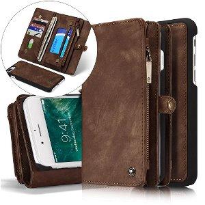 iPhone 8 Plus / 7 Plus CASEME 2-in-1 Vintage Leather Wallet Etui m. Pung Brun