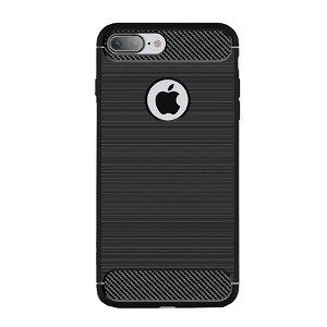 iPhone 8 Plus / 7 Plus Brushed Carbon Fibre Fleksibel Plast Cover Sort