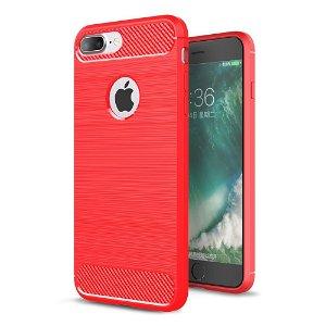 iPhone 8 Plus / 7 Plus Brushed Carbon Fibre Fleksibel Plast Cover Rød