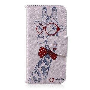iPhone 6 / 6s Læder Cover m. Kortholder - Giraf m. Butterfly