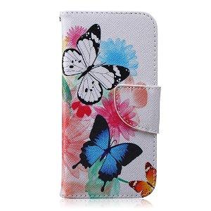 iPhone 6 / 6s Læder Cover m. Kortholder - Farverige Blomster & Sommerfugle