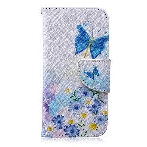 iPhone 6 / 6s Læder Cover m. Kortholder - Sommerfugle & Margueritter