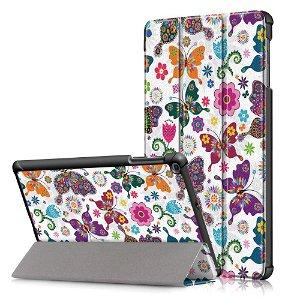 "Samsung Galaxy Tab A 10.1"" (2019) Foldbart Læder Cover m. Ståfunktion - Butterflies"