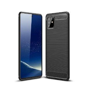 Samsung Galaxy Note 10 Lite Brushed Carbon Fiber Plast Cover - Sort