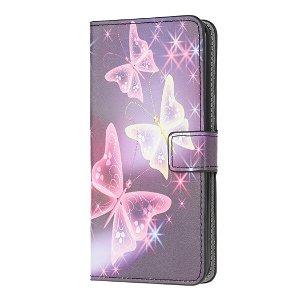 Samsung Galaxy S10 Lite Læder Cover m. Kortholder Sommerfugle - Lilla