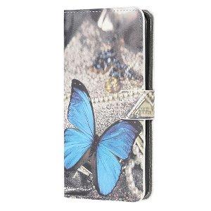 Samsung Galaxy S10 Lite Læder Cover m. Kortholder Blå Sommerfugl