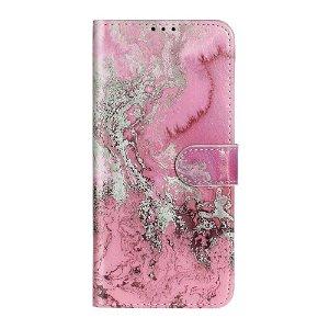 Samsung Galaxy A71 Læder Stand Cover m. Kortholder - Rose Marble