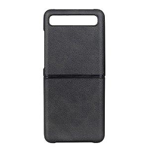 Samsung Galaxy Z Flip Læderbetrukket Plast Cover - Sort