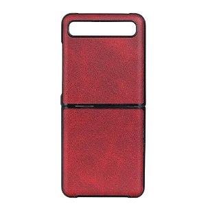 Samsung Galaxy Z Flip Læderbetrukket Plast Cover - Rød