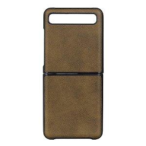 Samsung Galaxy Z Flip Læderbetrukket Plast Cover - Brun