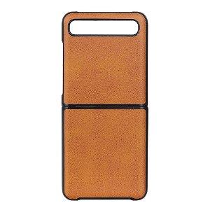 Samsung Galaxy Z Flip Læderbetrukket Plast Cover - Orange