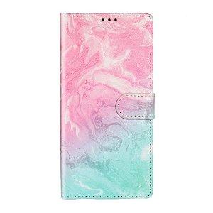 Samsung Galaxy S20 Farvet Svirvel Cover m. Kortholder - Pink / Blå