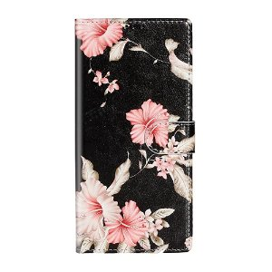 Samsung Galaxy S20 Pink Flowers Cover m. Kortholder - Sort / Lyserød