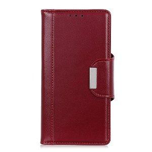 Samsung Galaxy A21s Læder Cover m. Kortholder - Rød