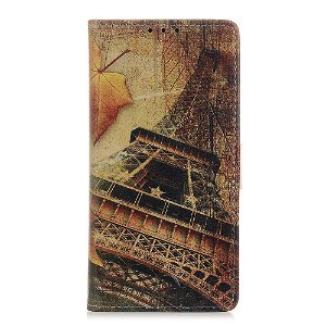 Samsung Galaxy A21s Læder Cover m. Kortholder - Eiffeltårnet og Efterår