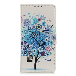 Samsung Galaxy A21s Læder Cover m. Kortholder - Blåt Træ