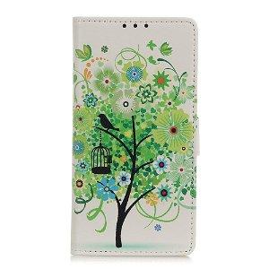Samsung Galaxy A21s Læder Cover m. Kortholder - Grønt Træ