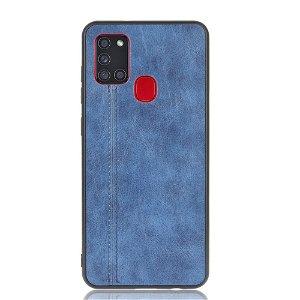 Samsung Galaxy A21s - Læderbelagt Cover - Blå