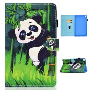 "Samsung Galaxy Tab A7 10.4"" (2020) Cover m. Ståfunktion & Kortholder - Panda I Bambusgren"