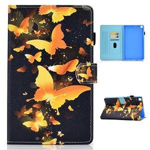 "Samsung Galaxy Tab A7 10.4"" (2020) Cover m. Ståfunktion & Kortholder - Guld Sommerfugle"