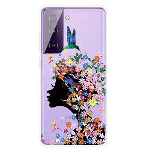 Samsung Galaxy S21+ (Plus) TPU Plastik Cover - Blomsterpige - Gennemsigtig