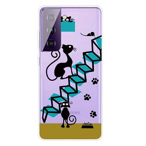 Samsung Galaxy S21+ (Plus) TPU Plastik Cover - Katte Trappe - Gennemsigtig