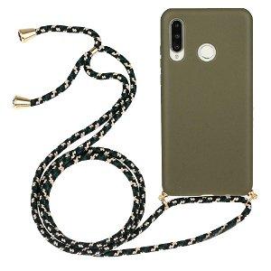 Huawei P30 Lite Fleksibelt Plast Cover m. Snor / Strop - Grøn
