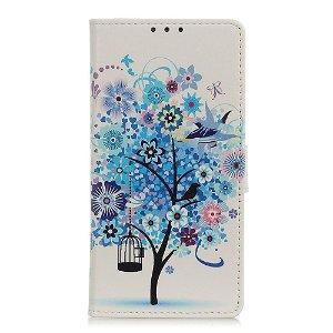 Motorola Edge Læder Cover m. Kortholder Blåt Træ